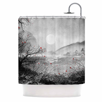 "Viviana Gonzalez ""The Red Sounds And Poems, Chap"" Gray Black Shower Curtain"