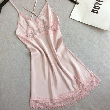 pastel pink babydoll slip lace satin silk strappy lingerie bra bralette soft crop top mesh applique cross back co ord feminine