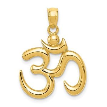 14K Yellow Gold Om Symbol Necklace Charm