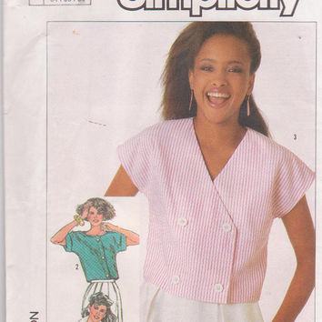 Vintage 1980s pattern for easy to sew , button front, summer crop tops  with kimono sleeves misses size 6 8 10 Simplicity 7452 UNCUT