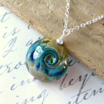 Wave Necklace, Beach Jewelry, Ocean Wave Lampwork Pendant, Surf & Sand Blue Lampwork Glass Lentil, Sterling Silver, Sea, Nautical Jewelry
