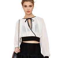 Puff Sleeves Lace-up Chiffon Cropped Top