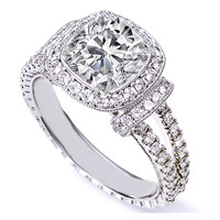 Engagement Ring - Cushion Cut Diamond Halo Engagement Ring Double Pave Band in 14K White Gold - ES1174