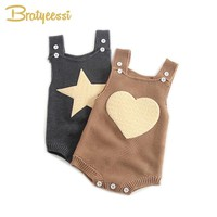 New Heart Star Baby Rompers for Girls Boys Baby Knitted Romper Toddler Overalls Infant Clothes 1 PC