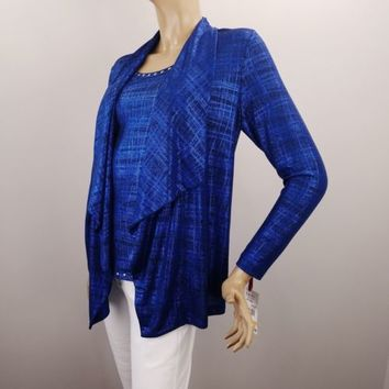 Ruby Rd Waterfall Top Sz S Tank and Cardigan One Piece Blue Black Shimmer 2-in-1