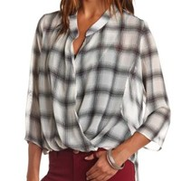 Sheer Plaid Chiffon Wrap Top by Charlotte Russe - White Combo