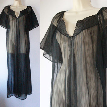 70 nylon vintage housecoat Duster Jacket LINGERIE Nightgown sheer black NEGLIGEE Sleep wear Pajamas Nighty Medium Large epsteam lounge wear
