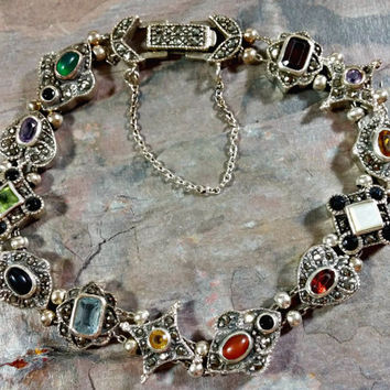 Multi Gemstone Slide Bracelet Victorian Revival Slider Charm Bracelet Sterling Silver Colorful Gemstones Enhanced By Sparkling Marcasites