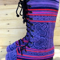 Women's Combat Boots Ethnic Hmong Purple Batik Mid Calf Lace Up  - Britta