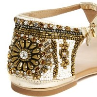 Faith Embellished Flat Toe Post Sandals