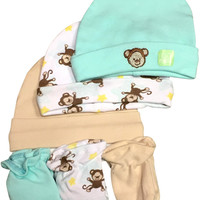 true ziggles baby little monkey 6 pc hat & mitten set Case of 12