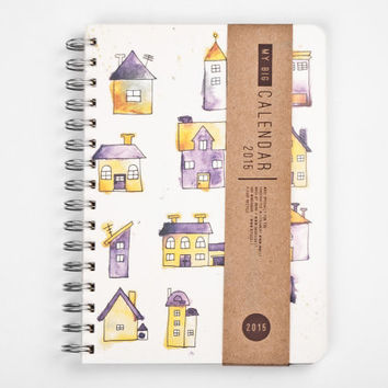 2015 Year Weekly Planner Calendar Diary Day Spiral A5 Watercolour Houses Planner Kalender - JUNE 2 JUNE available - Housewarming GIFT!