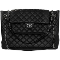Chanel Black Quilted Leather Flap Large Shopping Tote Bag rt. $5,500