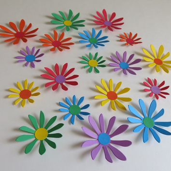 "Rainbow Daisy Stickers Set of 18, 2-3"" Hand Crafted Paper Flower Wall Decals, Primary Colors"