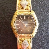Men's Seiko Quartz Alaska Gold Nugget Watch