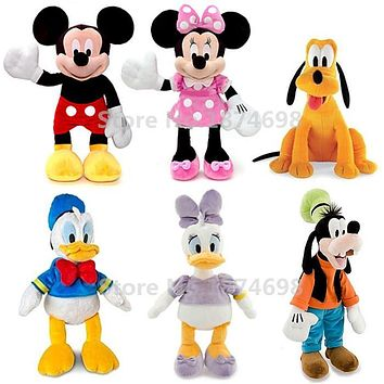 Mickey Minnie and Friends Donald Daisy Duck Goofy Pluto Dog Pelucia Plush Stuffed Animals Kids Soft Toys for Children Gift