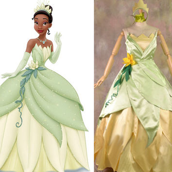 The Princess and the Frog Tiana Custom, Tiana Dress, Tiana Cosplay Costume