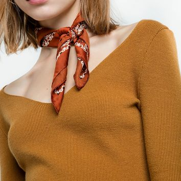 Brown Silky Bandana Neck Scarf