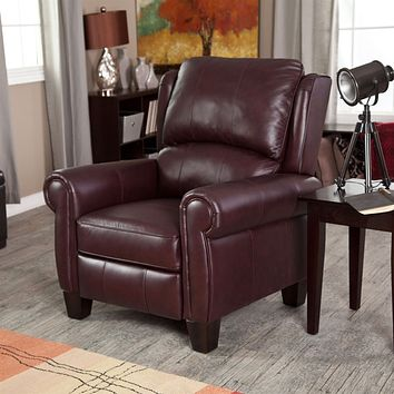 Burgundy Top-Grain Leather Upholstered Wing-back Club Chair Recliner