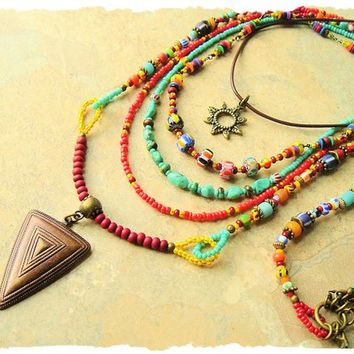Boho Colorful Beaded Necklace, Handmade Bohemian Jewelry, Tribal Hippie Gypsy Style, bohostyleme, Kaye Kraus