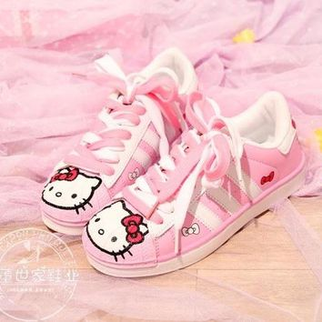 women ladies princess Japanese Lolita Sneakers Shoes pink hello cat Cute Student Princess Girl Cosplay Shoes