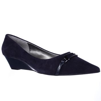Bandolino Yorinna Pointed Toe Low Wedge Pumps, Navy/Navy, 7.5 US