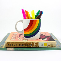 Vintage Retro Rainbow Mug / Rainbow Coffee Cup / Pencil Holder / Made in Korea by FTDA circa 1984