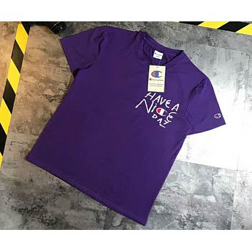 Champion 2018 summer new men and women T-shirt large Logo short-sleeved T-shirt F-XMCP-YC Purple