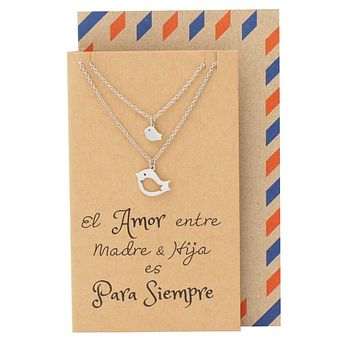 Mina Mother Daughter Necklace, Gifts for Mom Bird Necklace Set for 2 with Spanish Greeting Card