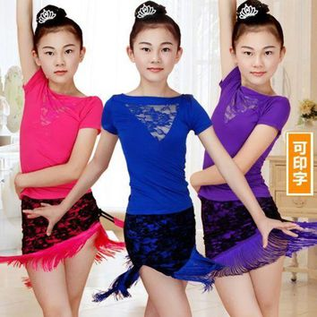 DKLW8 Lace Fringe Dance Skirt Girls Latin Dance Dress Children Dance Leotard Girl Dance Summer T-shirt