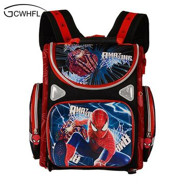 New 2017 Orthopedic Boys School Backpacks Waterproof Child Book Bag Spiderman Motorbike Girls School Bags Kids Satchel