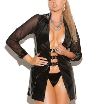 Plus Size Vinyl long sleeve jacket with buckle front and mesh  sleeves Black