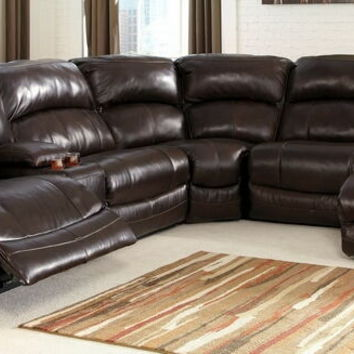 6 pc Damacio collection dark brown leather match upholstered sectional sofa set with power recliners