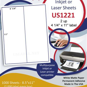 "US1221 - 4 1/4'' x 11'' - 2 up on a 8 1/2"" x 11""  inkjet and laser sheet."