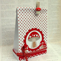 Red Mushroom Gift Bag Template, create bags from a folded page. Printable design, PDF. Fairy Pixie Toadstool party, gifts, favors.