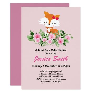 cute little fox baby shower invitation