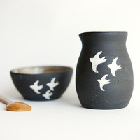 Creamer and Sugar Set in Black Stoneware- Swallow Design in black and white by RossLab