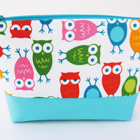 #Bright blue, green, orange, pink, yellow #Owl #cosmetic #case, #makeup bag, toiletry tote, pencil case
