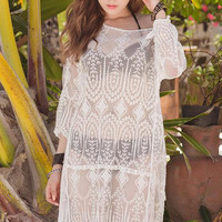 White Long Sleeve Chiffon Kaftan