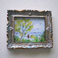 Miniature Watercolour Framed, Owl in Tree,Dolls House, Shabby Chic Blue Frame