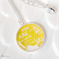 You are my sunshine Necklace Sun Necklace You are by nelladesigns