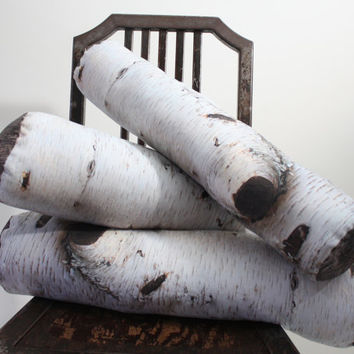 Birch Log pillow  made to order  decorative pillow  by Plantillo