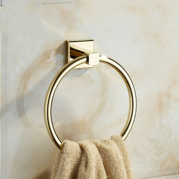 European Zirconium Gold Brass Towel Ring Towel Bar Vintage Polished Copper Towel Rack Mounting Bathroom Accessories B70