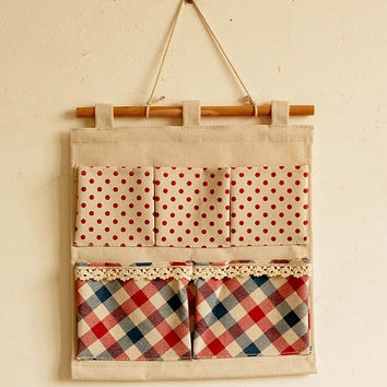 Home Storage Bags Cotton Linen Red England Style Plaid Home Decor [6282428550]