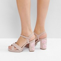 New Look Wide Fit Embroidered Platform Heel at asos.com