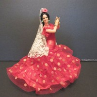 Vintage Souvenir Doll / Spain Spanish Flamenco Dancer, Red Dress, Bohemian Doll