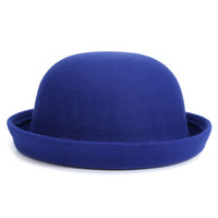 Blue Roll Up Brim Woolen Hat