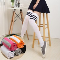 Spring Autumn Thick Pantyhose Stockings HOT Girls Sexy Thigh High Stockings Baseball Over Knee Socks