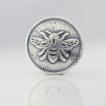 ONE Honey Bee Button Clasp Sterling Silver Jewelry Supplies