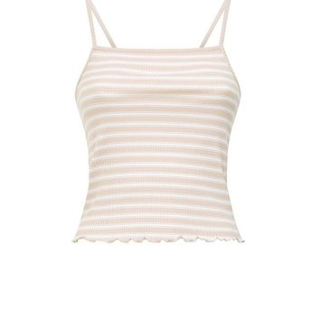 Carmel Stripe Ribbed Frill Hem Cami | New Look
